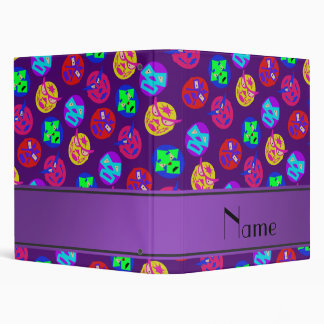 Personalized name purple mexican wrestling masks binder