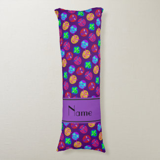 Personalized name purple mexican wrestling masks body pillow