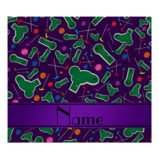 Personalized name purple mini golf posters