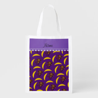 Personalized name purple monkey bananas grocery bag