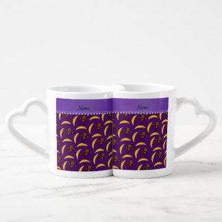 Personalized name purple monkey bananas couples' coffee mug set