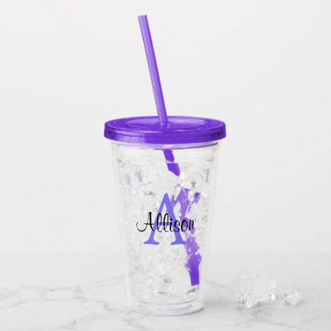 Personalized Name Purple Monogram Acrylic Tumbler
