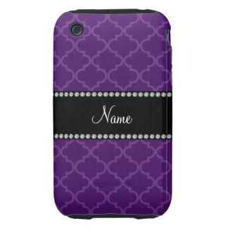 Personalized name Purple moroccan iPhone 3 Tough Case