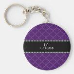 Personalized name Purple moroccan Key Chain