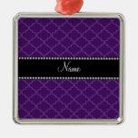 Personalized name Purple moroccan Ornaments
