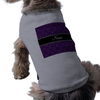 Personalized name purple moroccan quatrefoil doggie tee