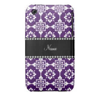 Personalized name purple moroccan trellis iPhone 3 cases