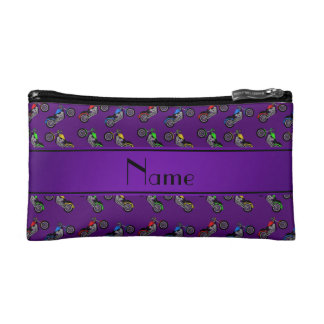 Personalized name purple motorcycles makeup bags