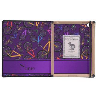 Personalized name purple mountain bikes iPad case