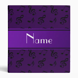 Personalized name purple music notes 3 ring binders