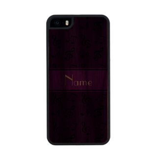 Personalized name purple music notes carved® walnut iPhone 5 slim case
