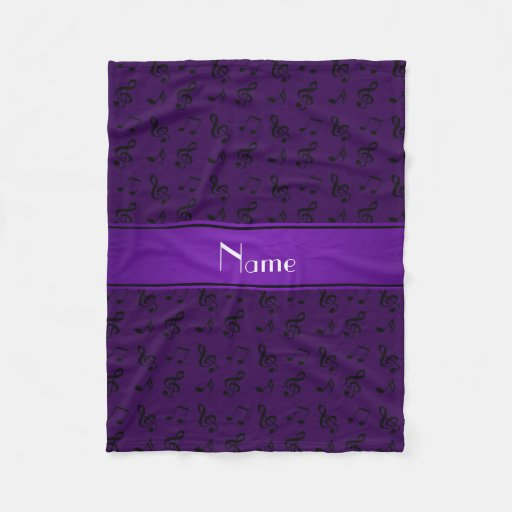 Personalized name purple music notes fleece blanket zazzle for Personalized last name university shirts