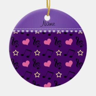 Personalized name purple music notes hearts stars ceramic ornament