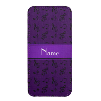Personalized name purple music notes iPhone 5 pouch