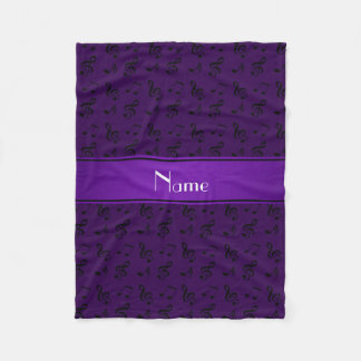 Personalized name purple music notes fleece blanket