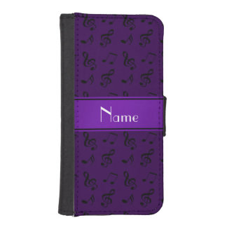 Personalized name purple music notes phone wallet
