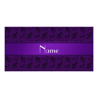 Personalized name purple music notes picture card