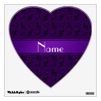 Personalized name purple music notes wall decal