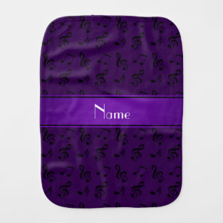 Personalized name purple music notes baby burp cloth