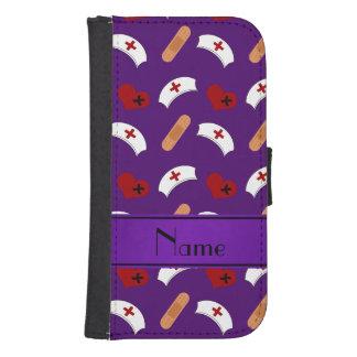 Personalized name purple nurse pattern galaxy s4 wallets