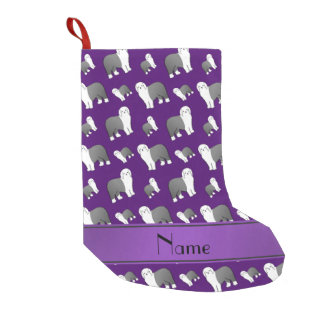 Personalized name purple Old English Sheepdog dogs Small Christmas Stocking