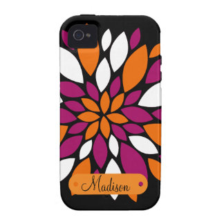 Personalized Name Purple Orange Flower Petal Art iPhone 4/4S Cases