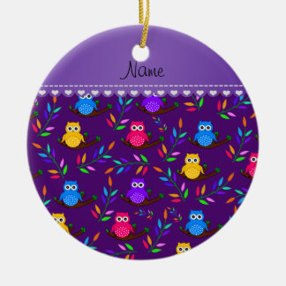 Personalized name purple owl branches leaves ceramic ornament