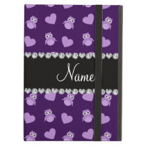 Personalized name purple owl hearts cover for iPad air