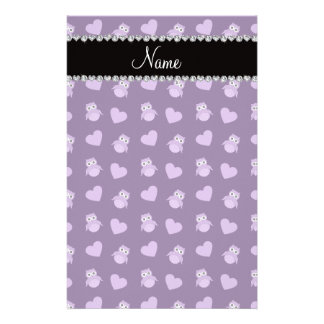 Personalized name purple owl hearts personalized stationery