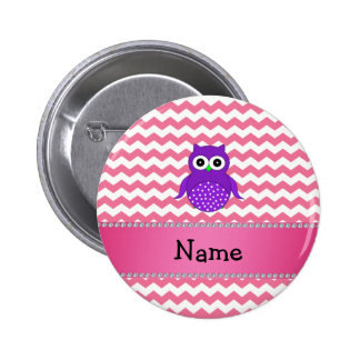 Personalized name purple owl pink chevrons 2 inch round button