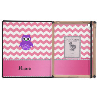 Personalized name purple owl pink chevrons iPad case