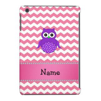Personalized name purple owl pink chevrons iPad mini covers