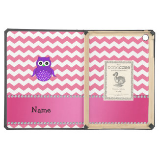Personalized name purple owl pink chevrons iPad air covers