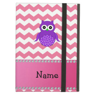 Personalized name purple owl pink chevrons iPad covers