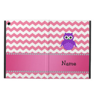 Personalized name purple owl pink chevrons iPad air cases