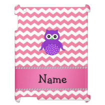 Personalized name purple owl pink chevrons iPad cover