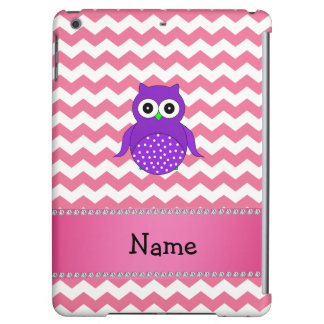 Personalized name purple owl pink chevrons iPad air case