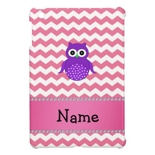 Personalized name purple owl pink chevrons case for the iPad mini