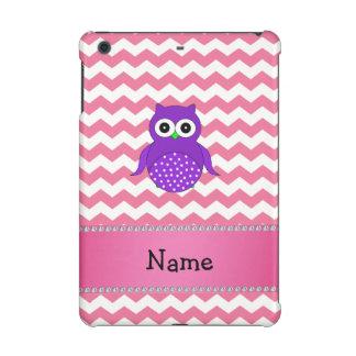Personalized name purple owl pink chevrons iPad mini retina cover