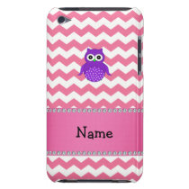 Personalized name purple owl pink chevrons iPod touch cover