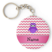 Personalized name purple owl pink chevrons keychain