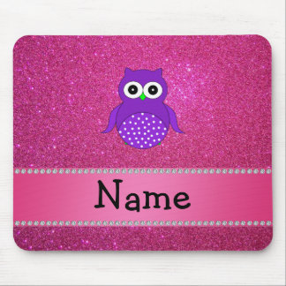 Personalized name purple owl pink glitter mouse pad