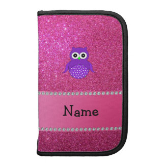 Personalized name purple owl pink glitter planners