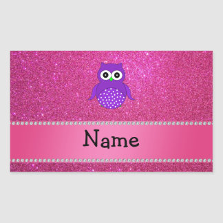Personalized name purple owl pink glitter rectangular sticker