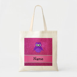 Personalized name purple owl pink glitter tote bag