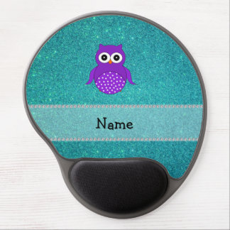 Personalized name purple owl turquoise glitter gel mouse pad
