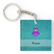 Personalized name purple owl turquoise glitter keychain