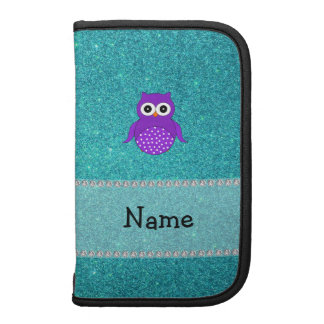 Personalized name purple owl turquoise glitter folio planner