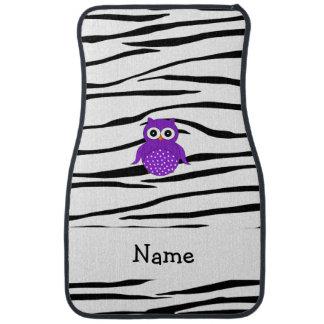 Personalized name purple owl zebra stripes car mat
