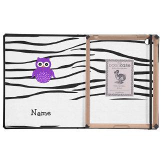 Personalized name purple owl zebra stripes iPad cover